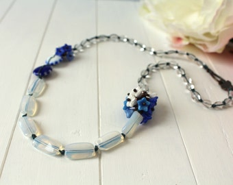 Delft Delight - Blue and White Glass Beaded Necklace
