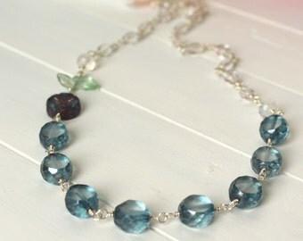 Summer Rain - Blue Glass Beaded Necklace