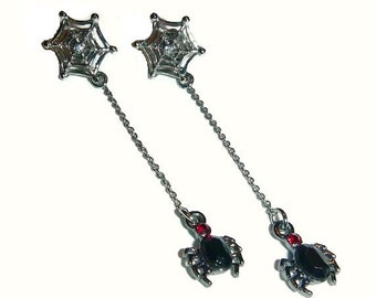 Vintage Spider Earrings Crystal Rhinestone Web Dangle Drop 80s Gothic Fashion Halloween Jewelry Witch Wiccan Vampire Black Spiders Spiderweb