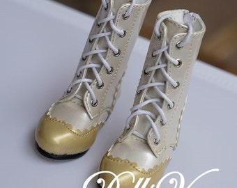 1/3 1/4 BJD Dollfie MSD Doll shoes Long Boots Golden+Pearl White DV1-030