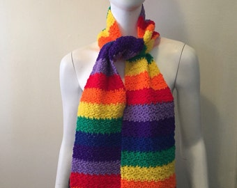 Vintage rainbow crochet scarf and beanie cap! Super bright and fresh hippie chic gypsy traveller