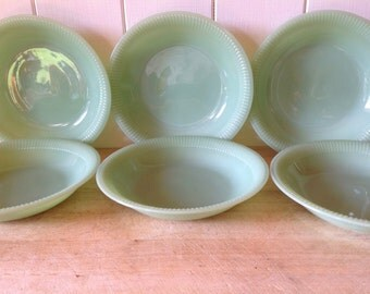 Reserved - 1950s Vintage Jadeite- Jane Ray - Rare Set of Six Bowls  -Dinner ware
