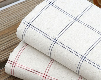 1y Vintage Styles Natural Linen Fabric Sewing 145cm*90cm cozy Modern check