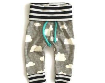 Yoga Sweats Organic Linen Clouds with Mint Baby and Toddler Sweatpants