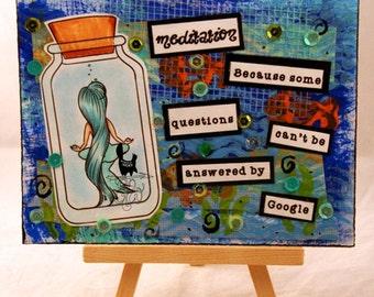 Mixed media handmade postcard, Mermaid, Funny