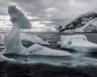 Melting Iceberg, Arctic Winter Landscape Photography, White Art, Antarctica, Nature Photography, Fine Art Photography, Digital Download