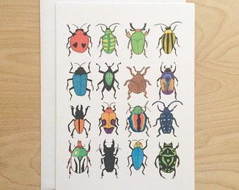Beetle Card (animal greeting card - animal cards - blank card - cute cards - blank greeting card - beetle art - greeting card - entomology)