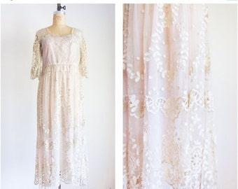 40% OFF SALE RARE 1910s edwardian belle epoque titanic lavender tambour lace wedding dress / vintage / size small medium