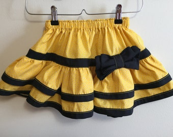 Ready to ship little girls ruffle skirt with a bow size 2T to 4T
