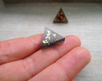 Triangle stud earrings, black and gold studs, Stainless steel posts, Geometric studs,