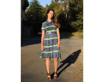 Vintage 60s Day Dress Navy Blue Polka Dots and Lime Green  ZigZag Shirt Dress Small