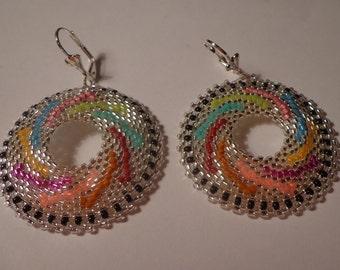 Tutorial earrings beads peyote circular - Rocailles Miyuki 11/0 and Delica 11/0 - Pinwheels