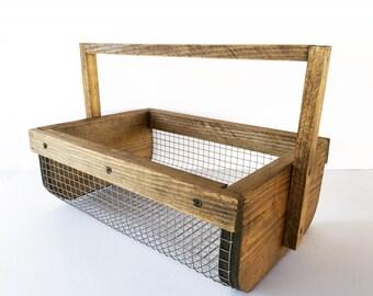 Hand-Made Stained Wood & Wire Garden Veggie Basket