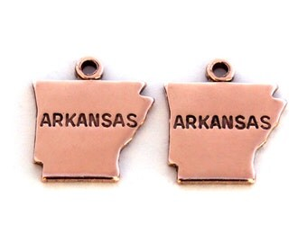 2x Rose Gold Plated Engraved Arkansas State Charms - M131-AR