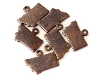 6x Antique Brass / Brown Patina Blank Montana State Charms - M073/AB-MT