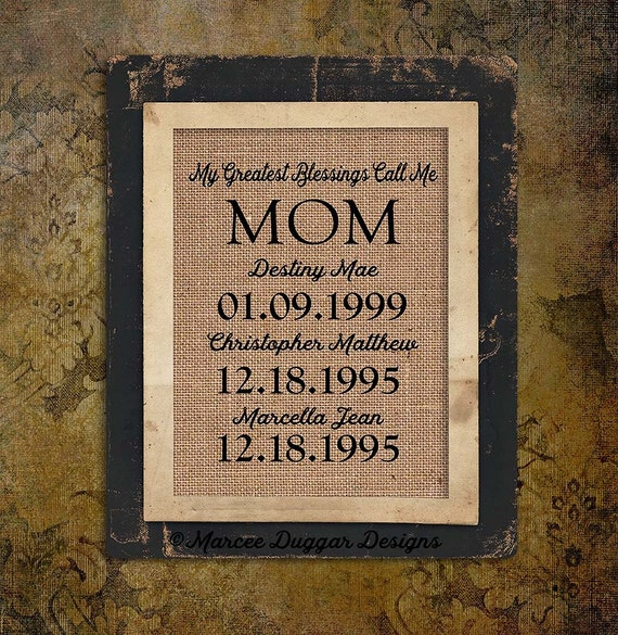 Christmas Gift  Mom | Mothers Day | Momma | Personalized Gift For Mom | My Greatest Blessings | Custom Gift | Quote |  Burlap Print | #0225