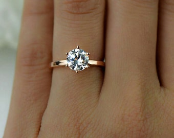 1.5 ct Engagement Ring, 6 Prong Solitaire Ring, Man Made Diamond Simulant, Wedding Ring, Promise Ring, Sterling Silver, Rose Gold Plated