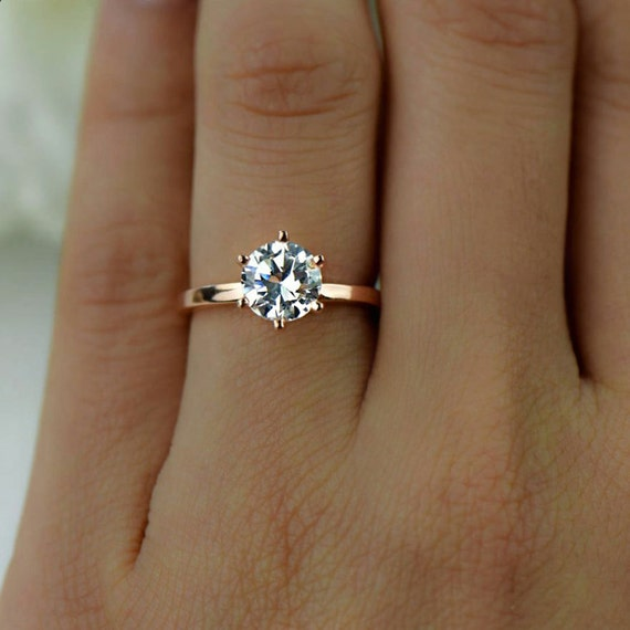 1 5 ct engagement ring 6 prong solitaire ring man made. Black Bedroom Furniture Sets. Home Design Ideas