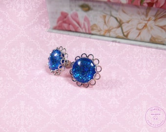 Earrings glas stones ear studs with beautiful glas cabochon glittering