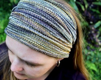 WIDE Earthy Tones Woodland Headband, Yellow Headband, Dread Accessories, Dreadlocks, Yoga Headband, Knit Headband, Woodland Headwrap, Locs