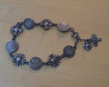 WWI Sweetheart Bracelet Croix de Guerre with French Battle Site Crests