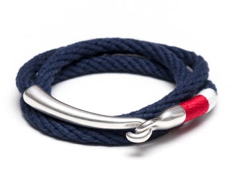 Nautical Rope Bracelet / Silver Navy Rope Bracelet / Red Navy Blue Rope Bracelet / Triple Wrap Rope Bracelet / Nautical Jewelry