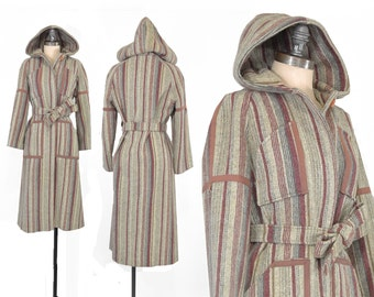 Ginnala Striped Coat • Vintage 1970s Coat • Striped Wool 70s Coat  • Vintage Hooded Wool Coat • Long Belted Coat
