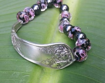 Bracelet w/ Lampwork Glass Beads and Magnet Beads made from Reliance Silverplate Flatware 1908 Wildwood Pattern