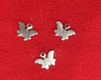 """20pc small stainless steel """"butterfly"""" charms (BC1098)"""