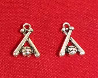 """BULK! 15pc """"baseball"""" charms in antique silver style (BC655B)"""
