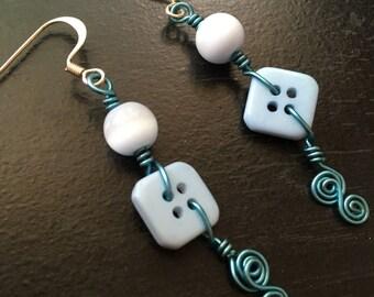 Light blue button earrings