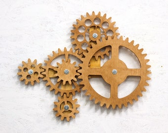 Kinetic Wall Sculpture.  Mechanical Wall Art Decor. Rotating Wooden Gears Wall Decor Sculpture. Steampunk Wall Decor