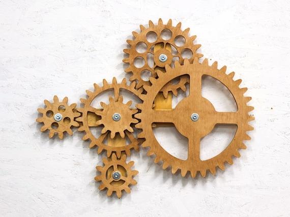Kinetic Wall Sculpture. Mechanical Wall Art Decor. Rotating Wooden Gears  Wall Decor Sculpture. Steampunk Wall Decor