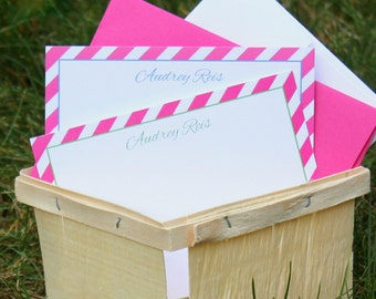 Pink Stripe Note Cards