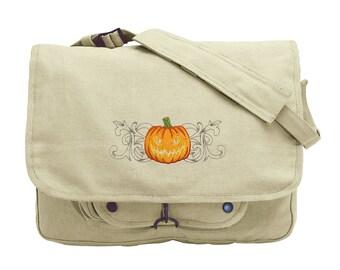 Wild Side Jack-o-Lantern Embroidered Canvas Messenger Bag