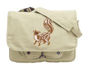 Squirrel with Flourish Embroidered Canvas Messenger Bag
