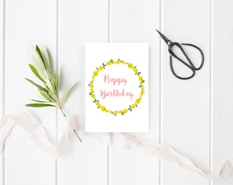 Birthday card with drawings lemons to be downloaded - Birthday card - Stationery - Illustrated  Birthday Cards - Lemons - Instant download