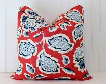 Both Sides - ONE Schumacher Deco Flower Berry Pillow Cover with Self Cording