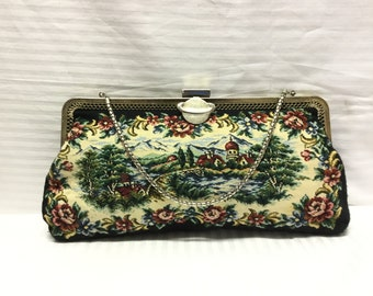 Tapestry purse, Clutch, Bags Purses, German Scene, clutch, Purse, Free shipping in the US