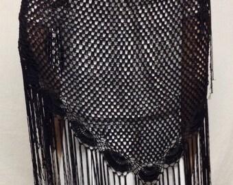 Black knit shawl, Long Fringed, Piano Scarf ,Shawl ,Black ,Knit Wrap