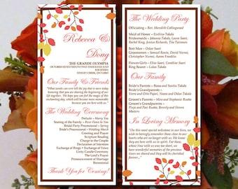Fall Wedding Program Template Download