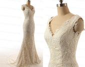 Champagne Cap Sleeve Handmade Mermaid Bridal Gowns Sweep Train White/Ivory Elegant Lace Wedding Dress