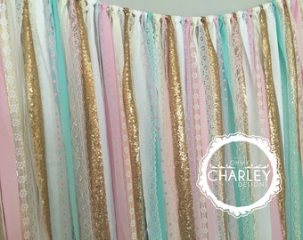 Pink, Aqua & Gold MINI Backdrop with Sequin and Lace - Wedding Garland, Photo Prop, Curtain, Baby Shower, Crib Garland