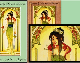 Mulan - Mucha-inspired - Artwork by Hannah Alexander - cross stitch pattern - cross stitch Mulan - Mulan - PDF pattern - Instant download!