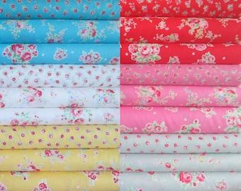 Lecien Flower Sugar Spring 2015, Fat Quarter Bundle of 18 Rose Prints, Japanese Fabric