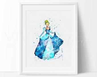 Cinderella Print, Disney Princess Baby Girl Nursery Art Print Wall Decor, Watercolor Art, Modern Baby Room Print, Wall Art, No. 126