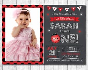 Ladybug Invitation, Ladybug Invite, 1st birthday, Ladybug birthday invitation, Ladybug Invite, photo invitation, printable