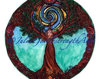 Mother Earth Tree Mandala Sticker / Window Decal  4x4 inches. Tree Goddess, Celtic Tree of Life, Universal  Symbols.