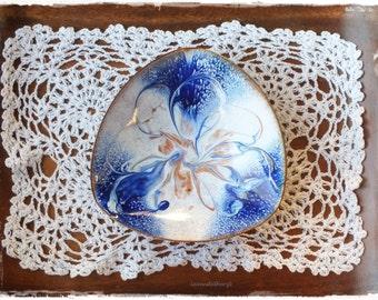 Vintage - Bowl, emaliert copper RETRO copper blue white, 60