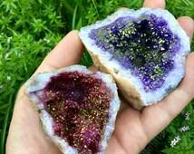 Purple & Magenta Aura Geodes
